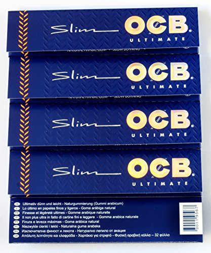 5 booklets OCB ULTIMATE SLIM Thinnest Rolling paper King Size