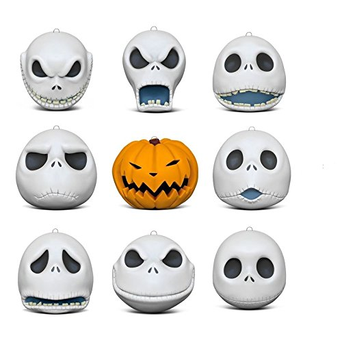 Hallmark Keepsake Christmas Ornaments 2018 Year Dated, Tim Burton's The Nightmare Before Christmas The Many Faces of Jack Skellington 25th Anniversary, Porcelain, Set of -