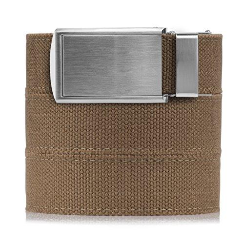 SlideBelts Men's Canvas Belt - Burlap with Silver -