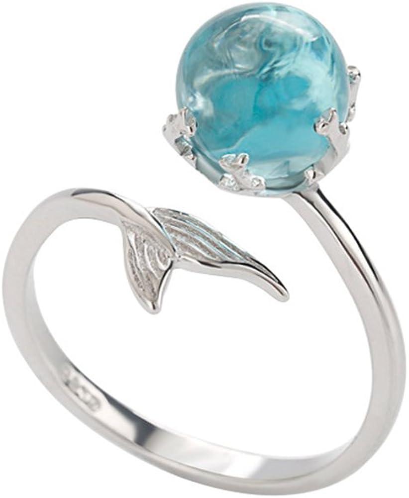 BIGBOBA Chapado en oro, simple cristal azul, anillo de cola de sirena con circonita individual de piedra, anillo de mujer, regalo para niña, regalo de San (style1)