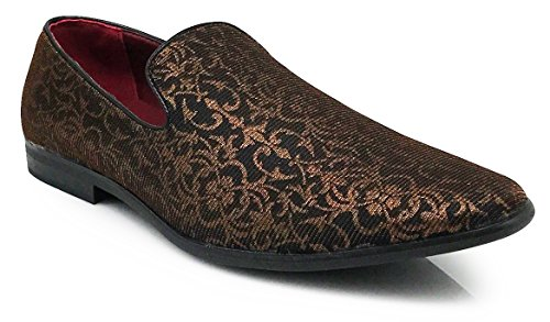 Enzo Romeo Spg Men's Vintage Satin Silky Floral Print Dress Loafers Slip On Shoes Classic Tuxedo Dress Shoes (10, Brown) by Enzo Romeo