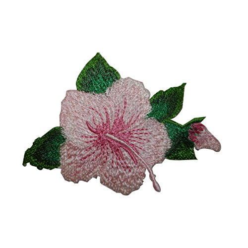 (ID 6344 Pink Hibiscus Flower Blossom Patch Tropical Embroidered Iron On Applique)