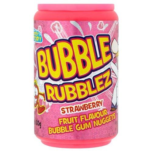 Crazy Candy Factory Bubble Rubblez Strawberry Fruit Flavour Bubble Gum Nuggets 60g (Pack of 12 x Sgl)