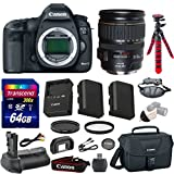 """Canon EOS 5D Mark III 22.3 MP Full Frame CMOS Digital SLR Camera Bundle with Canon EF 28-135mm f/3.5-5.6 IS USM Lens + Transcend 64GB Memory Card + Canon Deluxe Case + 12"""" Spider Tripod"""