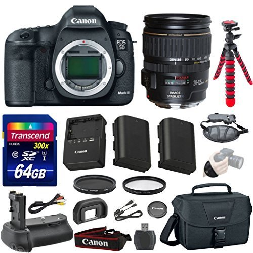 Canon EOS 5D Mark III 22.3 MP Full Frame CMOS Digital SLR Camera Bundle with Canon EF 28-135mm f/3.5-5.6 IS USM Lens + Transcend 64GB Memory Card + Canon Deluxe Case + 12