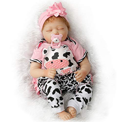 SanyDoll Reborn Baby Doll Soft Silicone 22inch 55cm Magnetic Lovely Lifelike Cute Lovely Baby Pink Sleeping Baby