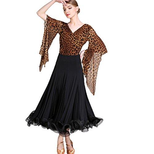A Rete Nazionali Suit Prestazione Sala Danza Moderna Donne Di xl Stampato Abbigliamento Wqwlf Per Costumi Maniche Ballo Black Abiti L Valzer Da Competizione Pezzi 2 zqAn4wtavx