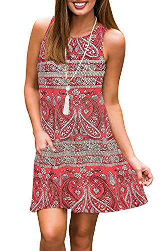 Andaa Womens Crew Neck Printed Sleeveless Casual Tunic Tops Summer Swing Tee Shirt Dress with Pockets