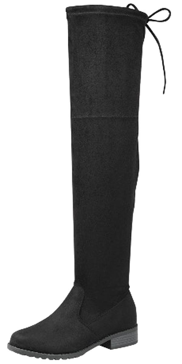 Forever Link Jalen-H4 Women's Over The Knee Thigh High Flat Boot,Black,6