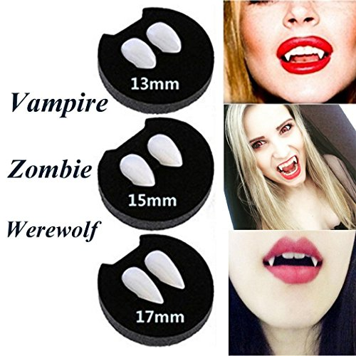 Kids Vampire Makeup (NChance Halloween Vampire Fangs Zombie Teeth Dentures Party Cosplay Horror Haunted Costume Props Creepy Devil Decorations Supplies with 1 pcs Extra Tattoon Sticker (Pack of 3))
