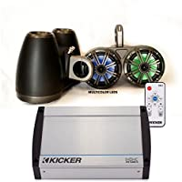 Kicker Black Dual Wake Tower System w/ 4 Charcoal 6.5 LED Speakers, LED Remote and Kicker 40KXM400.4 400 Watt Amplifier