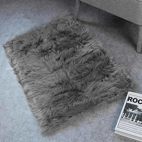 HAOCOO Faux Fur Sheepskin Rug Fuzzy Fluffy Rectangle White Area Rugs 2' x 3' Kids Carpet for Bedroom Living Room Floor Or Across Your Armchair Sofa Couch