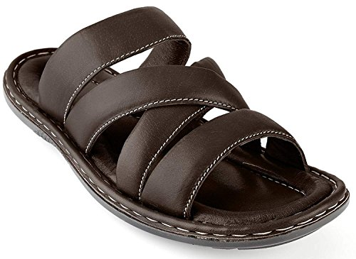 Prospero Comfort Men's Sandals Top Grain Leather Soft Cushion Footbed - Twisted Design Brown 12 by Prospero Comfort