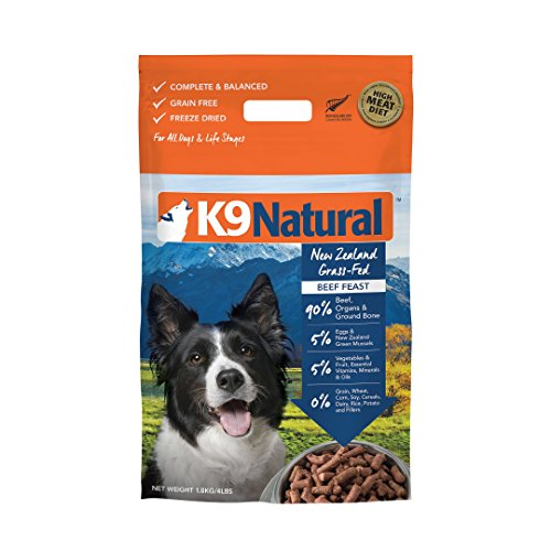 Freeze Dried Dog Food Or Topper By K9 Natural - Perfect Grain Free, Healthy, Hypoallergenic Limited Ingredients Booster For All Dog Types - Raw, Freeze Dried Mixer - Beef 4lb Pack