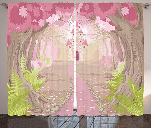 Ambesonne Teen Girls Decor Collection, Path to the Fairy Tale Princess Castle in Fantasy Forest Landscape Artwork Print, Living Room Bedroom Curtain 2 Panels Set, 108 X 84 Inches, Green Beige Pink ()