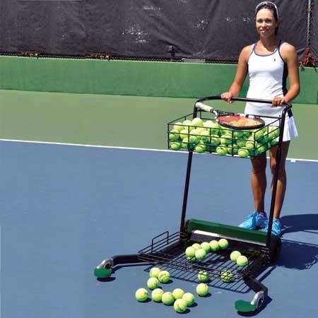 Tennis Ball Mower - Oncourt Offcourt Tennis MultiMower - Tennis Ball Mower/Doubles as Teaching Cart / 300 Ball Capacity