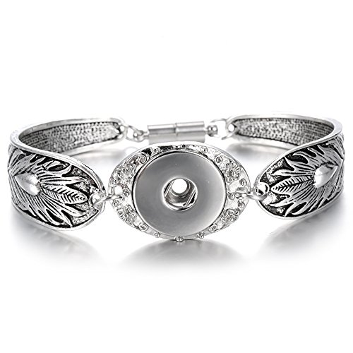 Lovglisten Leaves Carved Vintage Magnetic Snap Bracelet Bangle for 18mm Snap Button Jewelry (4) ()