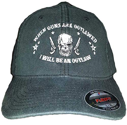 Sons Of Liberty. When Guns are Outlawed. I Will be an Outlaw. Flex-FIT HAT/Cap (L/XL) Black (Hat Fit Flex Outlaw)