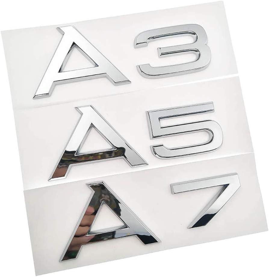 XHULIWQ Calcoman/ías de Insignia de Emblema Cromado de Maletero para Coche para 1.8T 2.0T 3.0T 3.2 3.6 4.2 A3 A5 A7 A4L A6L A8L