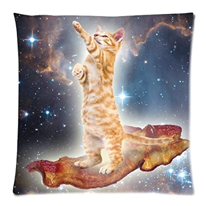 Funny Cat Touch The Star In Universe Galaxy Space Throw Pillow Case Zippered Cushion Cover Home