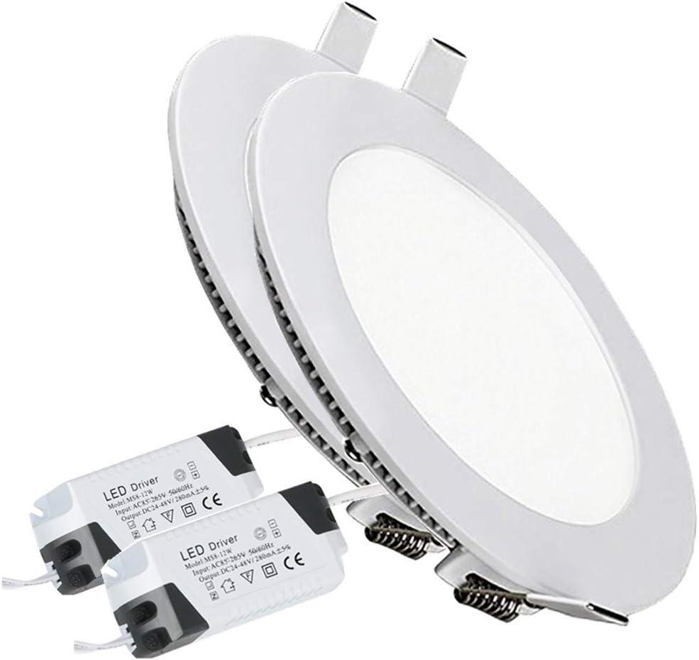 4W Luz de Techo Empotrada LED Redondo Panel de Luz Led Downlight Destacar Iluminaci/ón Cocina Ba/ño Corredor 3000K Warm White Tama/ño del Agujero 9.5CM