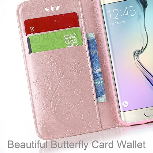 Butterfly Case S7 Case Flip Stand PU S7 for Gold Case Samsung Rose Or Wallet Pattern Flower Leather Galaxy Slot Rose Galaxy Samsung Magnetic for Card wqaxv