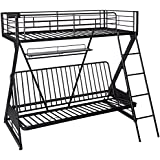 Acme Furniture 37136 Zazie Twin over Full/Futon Bunk Bed with Bookshelf, Sandy Black