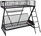 Acme Furniture 37136 Zazie Twin Over Full/Futon Bunk Bed with Bookshelf, Sandy Black For Sale