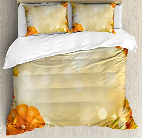Lunarable Thanksgiving Duvet Cover Set King Size, Abstract Bokeh Backdrop with Maple Aspen Leaves and Pumpkin Framework, Decorative 3 Piece Bedding Set with 2 Pillow Shams, Orange Yellow ()