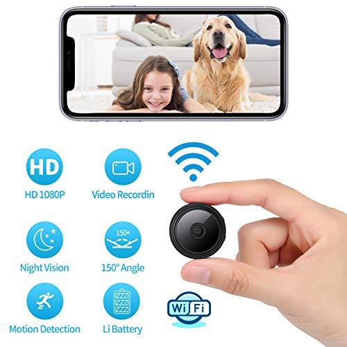🥇 1080P Wi-Fi Spy Camera Wireless Hidden Camera Small Surveillance Camera Built-in Battery Nanny Camera