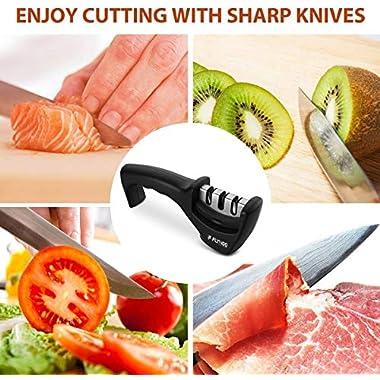 FLYNGO Manual Knife Sharpener 3 Stage Sharpening Tool for Ceramic Knife and Steel Knives 11