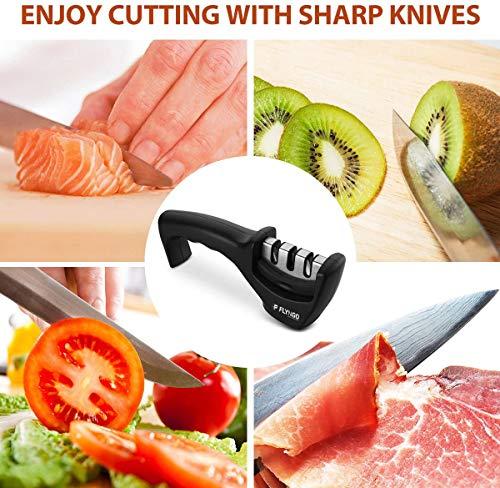 FLYNGO Manual Knife Sharpener 3 Stage Sharpening Tool for Ceramic Knife and Steel Knives 5