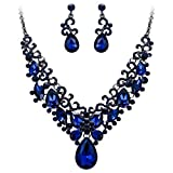 BriLove Costume Fashion Necklace Earrings Jewelry Set for Women Crystal Teardrop Marquise Butterfly Filigree Enamel Statement Necklace Dangle Earrings Set Navy Blue Sapphire Color Black-Silver-Tone