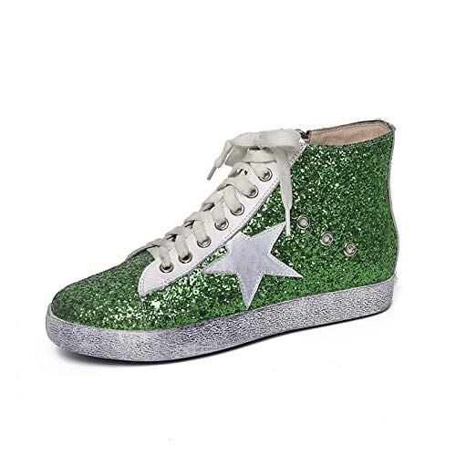 Sneakers Flat de Zapatos Fall Mujer amp; Silver Comfort Winter Green Black Heel Nappa ZHZNVX Black Leather qzxwAUA4