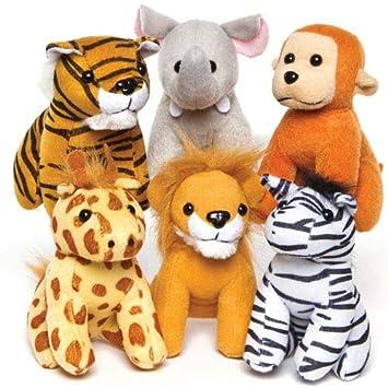 Baker Ross Peluches de Animales de la Selva (Paquete de 6) Regalos Infantiles Bolsas de cotillón