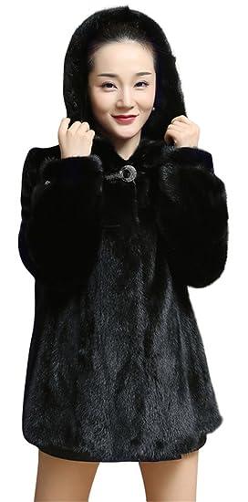 f07614c8d3c52 ACE SHOCK Mink Fur Coat Women Hooded