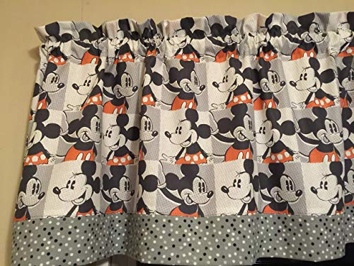 Mickey Minnie Mouse Red Gray White Polka Dot Kitchen Window Topper Treatment Valance Decor (Valance Mickey Mouse)