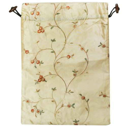 51AG2tiy06L - Wrapables Beautiful Embroidered Silk Travel Bag for Lingerie and Shoes, Beige