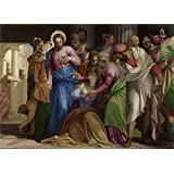 'Paolo Veronese Christ addressing a Kneeling Woman ' oil painting, 12 x 17 inch / 30 x 43 cm ,printed on polyster Canvas ,this Best Price Art Decorative Canvas Prints is perfectly suitalbe for Home Office decoration and Home decoration and Gifts
