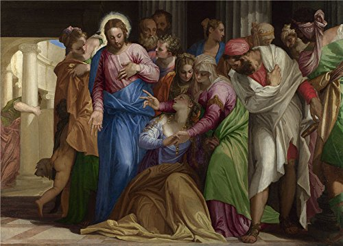 Oil Painting 'Paolo Veronese Christ Addressing A Kneeling Woman' 18 x 25 inch / 46 x 64 cm , on High Definition HD canvas prints is for Gifts And Gym, Home Office And Home Theater ()