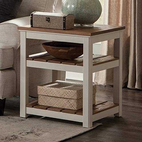 Savannah 2-Shelf Square End Table, Ivory with Natural Wood Top