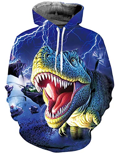 Uideazone Unisex 3D Hoodie Dinosaur Printed Novelty Cool Pullover Hooded Sweatshirts Big Pockets Fleece Plush - Pant Unisex Denim Drawstring
