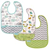 Kushies Cleanbib Waterproof Bib, 3-Pack, 6-12 Months, White Little Safari / Elephant / Green Chevron