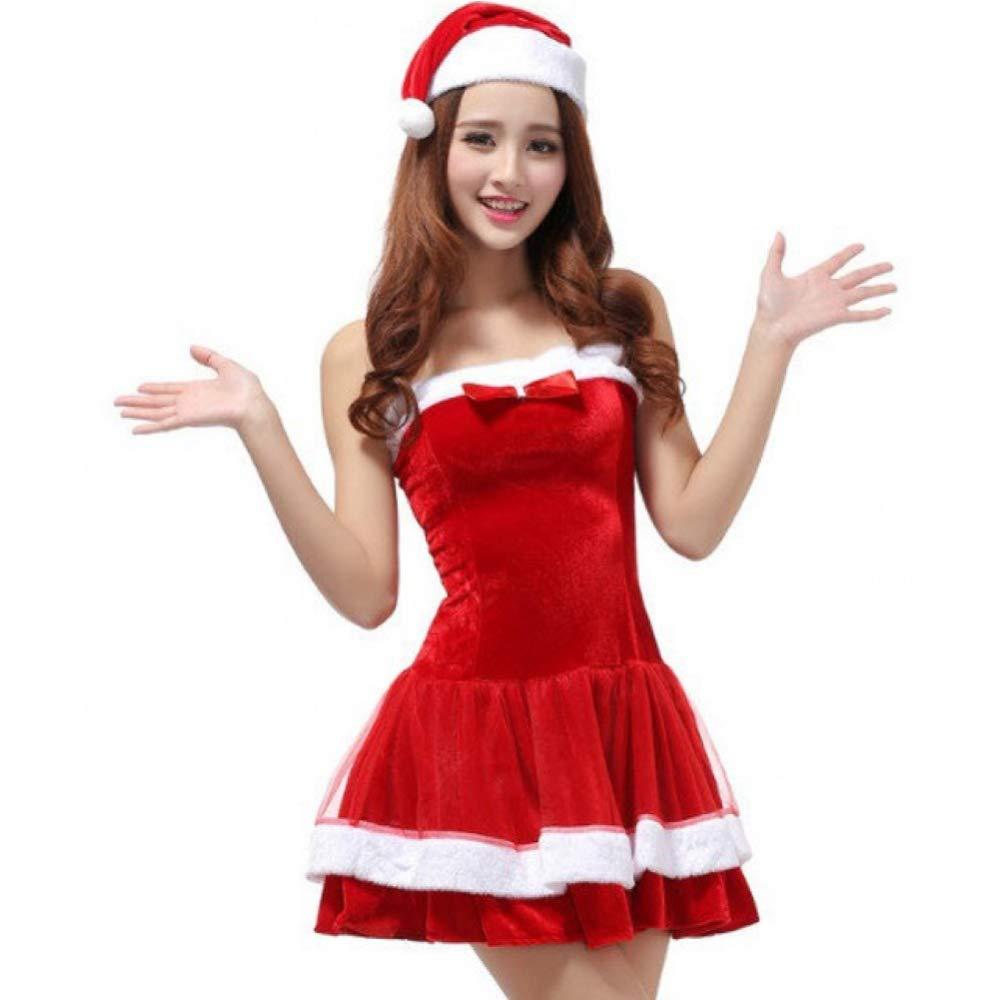 GSDZN - Disfraz De De De Navidad De Dama, Disfraz De Santa Claus Rojo Hembra, Incluyendo Sombrero De Navidad, Vestidos, Un Tamantilde;o, Conveniente para S-XL,OneSize_S-XL 102bcd
