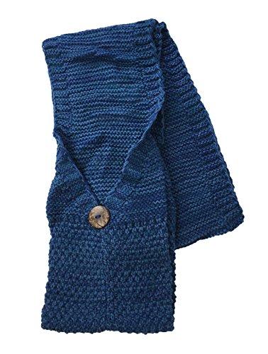 Tan's Women's Cozy Marled Knit Pocket Scarf, Blue