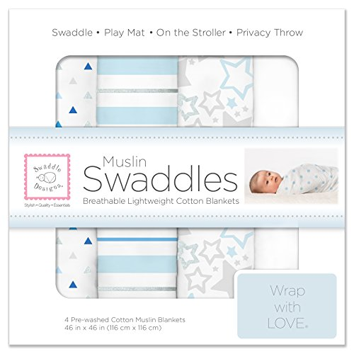 SwaddleDesigns 4 Piece Cotton Muslin Swaddle Blankets, Blue Starshine Shimmer/Pure White/Pastel (Pure Cotton Pastel)