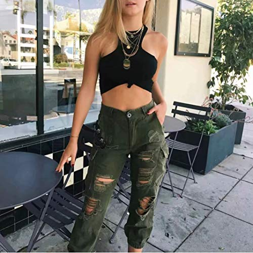 Unie Pour S Casual l Fit Haute 3 Hibote Sports Stretch Loose Confortable Pantalon Femmes Jeans Taille Boyfriend Couleur wfqFXAq