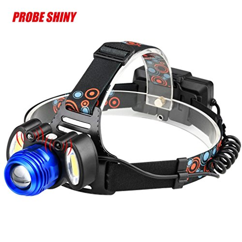 PENATE 4 Modes Super Bright Headlamp 15000LM XM-L T6 LED +2xCOB 18650 Induction USB Rechargeable Waterproof Zoomable Comfortable Wear Flashlight Head - O-ring Lycra