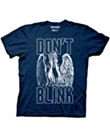 Doctor Who Don't Blink Weeping Angel Covering Face Men's Navy Blue T-shirt