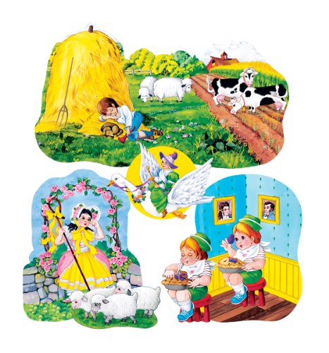 Nursery Rhymes set 3- Felt Figures for Flannel Board 4 stories-Little Boy Blue, Jack Horner, Bo Peep & Mother Goose -